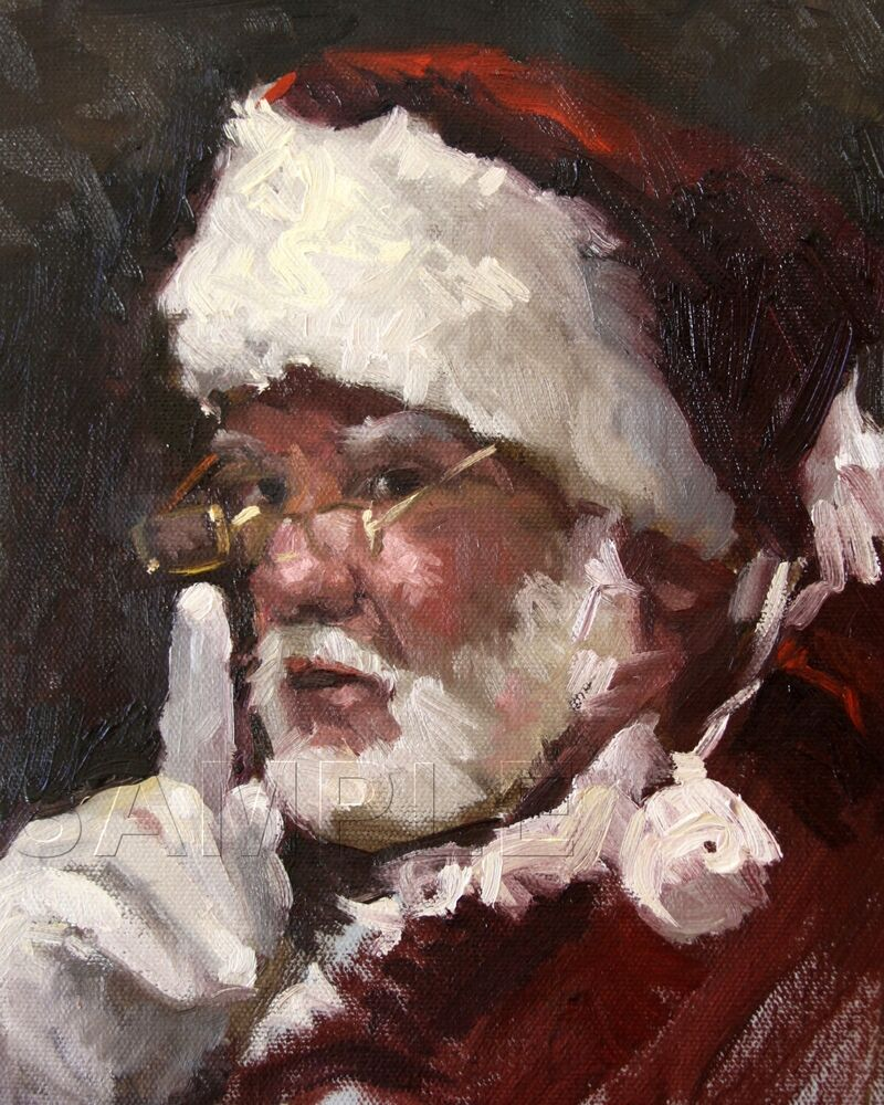 VINTAGE SANTA PORTRAIT JOLLY OLD ST NICK CHRISTMAS CANVAS ...