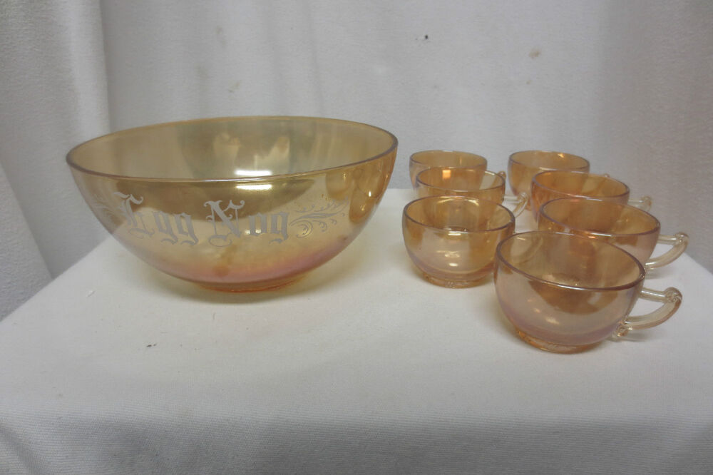 ... Orange Carnival Glass Iridescent Egg Nog Punch Bowl & Cups | eBay
