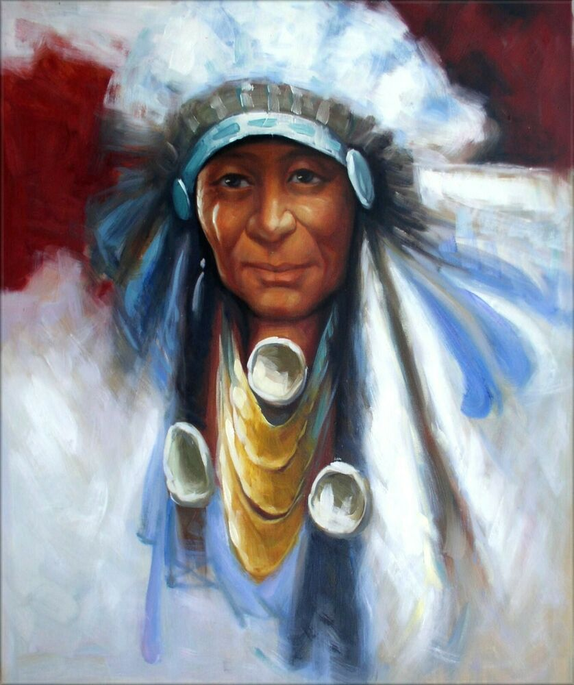 Portrait of a native american quality hand painted oil for Hand painted portraits from photos