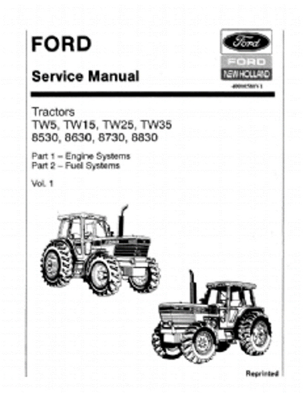 ford tractor manual ford tractor tw5 tw15 tw25 tw35 8530 8630 8730 8830 workshop service manual