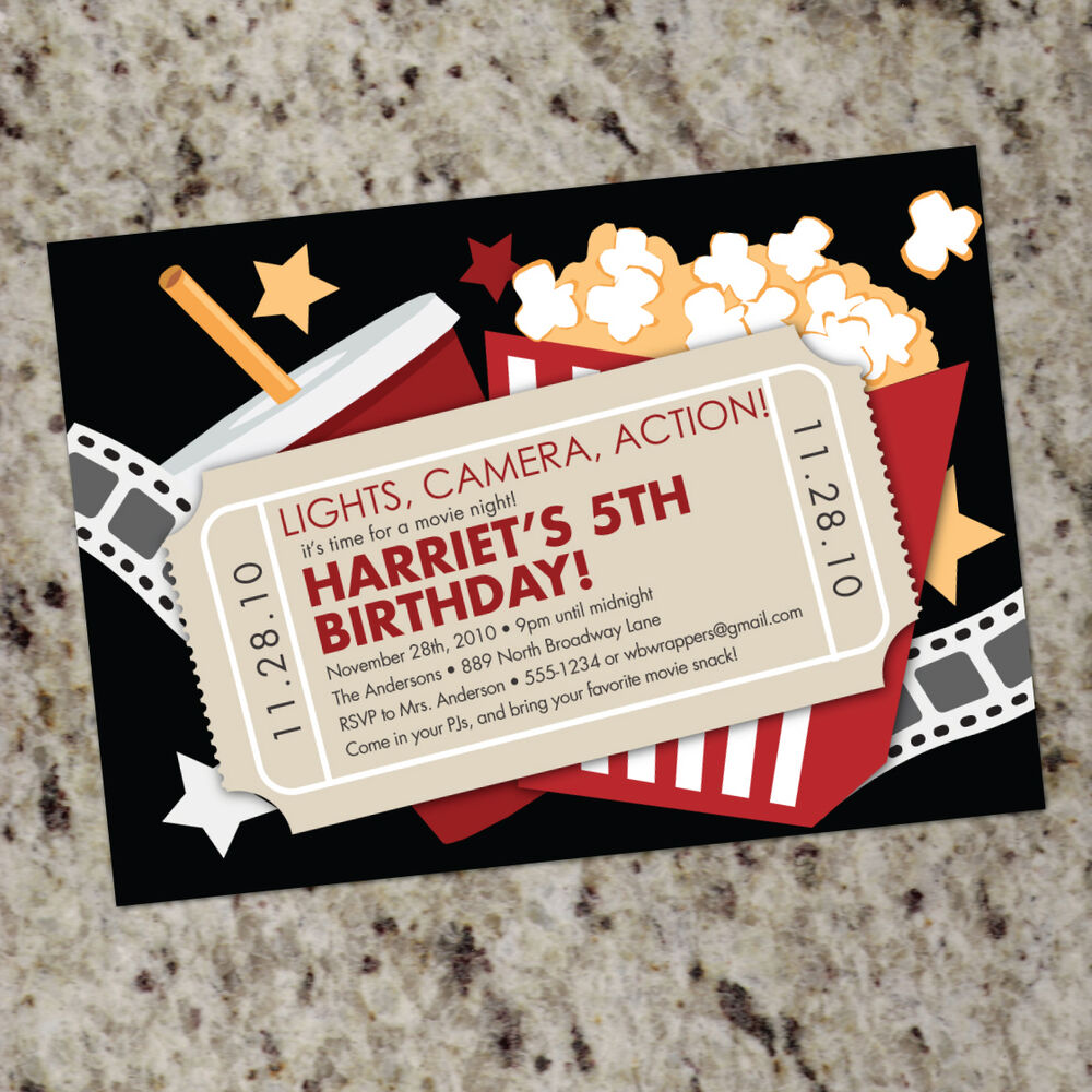 Details About Movie Theater Themed Birthday Party Invitations