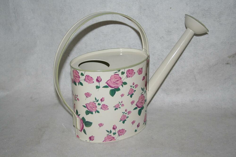 Decorative Metal Fixed Handle Watering Can With Rose