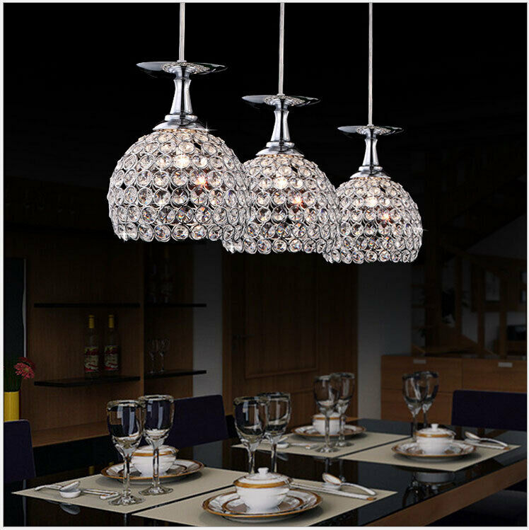 Crystal led chandeliers pendant lamp bar restaurant for Lampe de bar cuisine