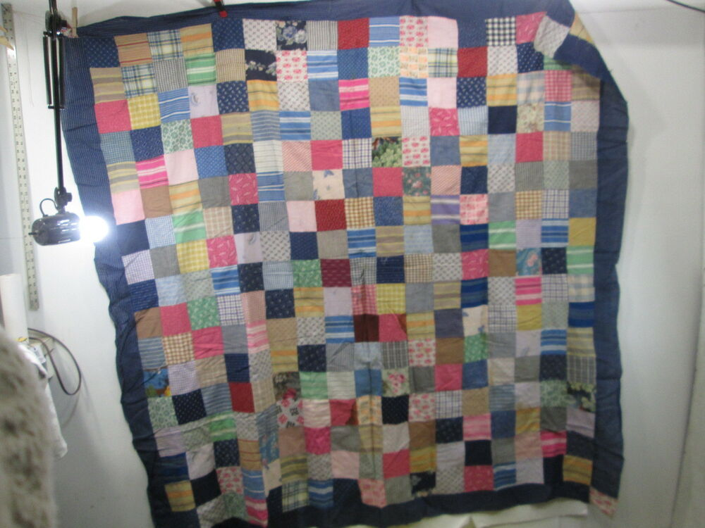 Vintage Hand Sewn Quilt Top Only- Dark Blue Border- Squares Pattern eBay
