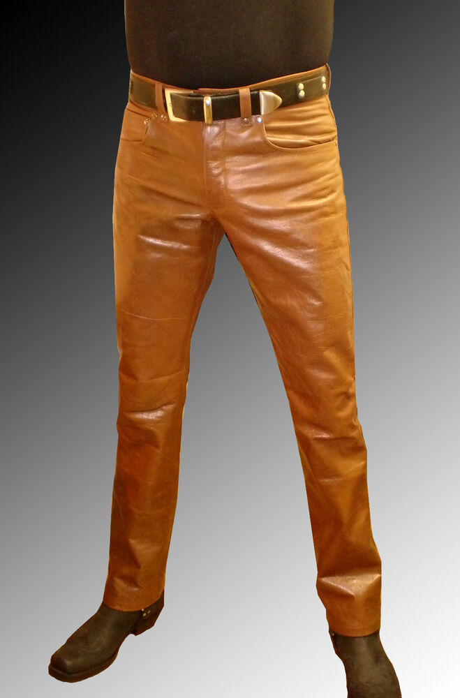 Men S Leather Pants Brown Leather Trousers Brown New Jeans