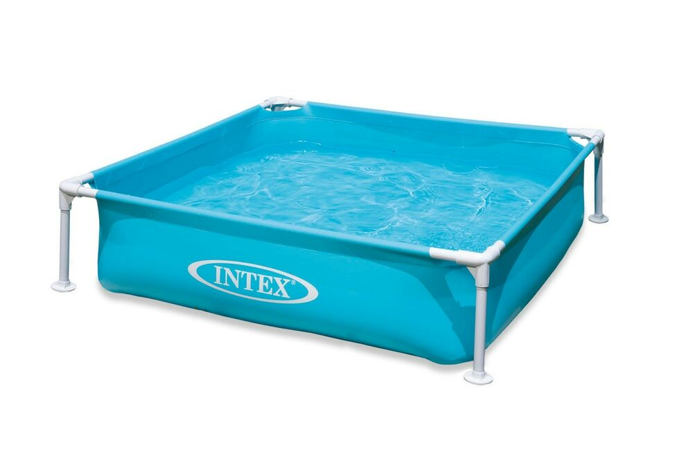 intex mini frame pool 48 x48 square kids wading kiddie swimming pool blue ebay. Black Bedroom Furniture Sets. Home Design Ideas