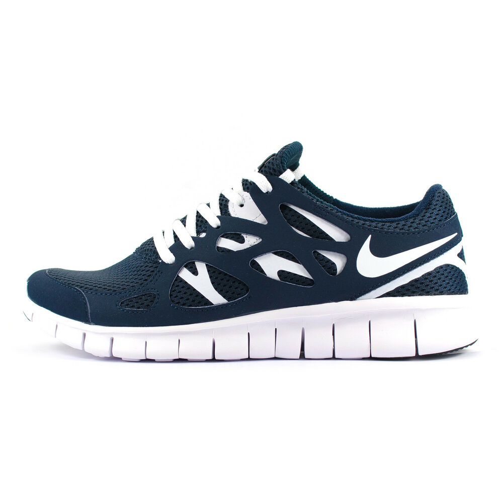 Mens Nike Free Run 2 Navy Blue/White Running Trainers ...