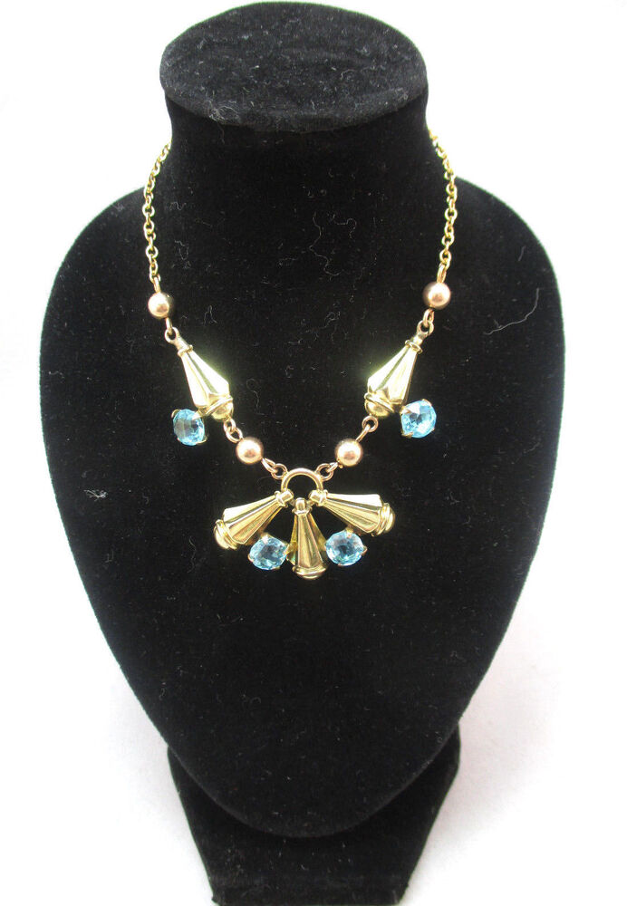 vintage 1930 era blue topaz like gold filled amco costume