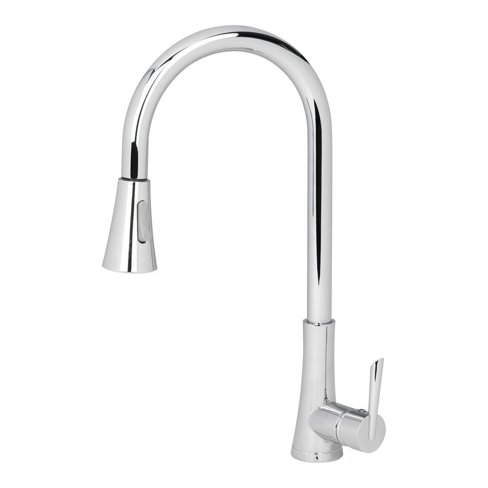 NEW Polished Chrome Kitchen Sink Faucet Swivel Pull Out Dual Spray Single Han