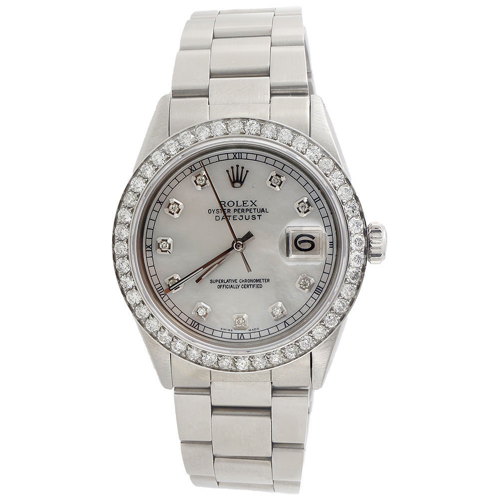 Diamond Rolex Datejust Watch Mens 36mm Oyster Band White ...