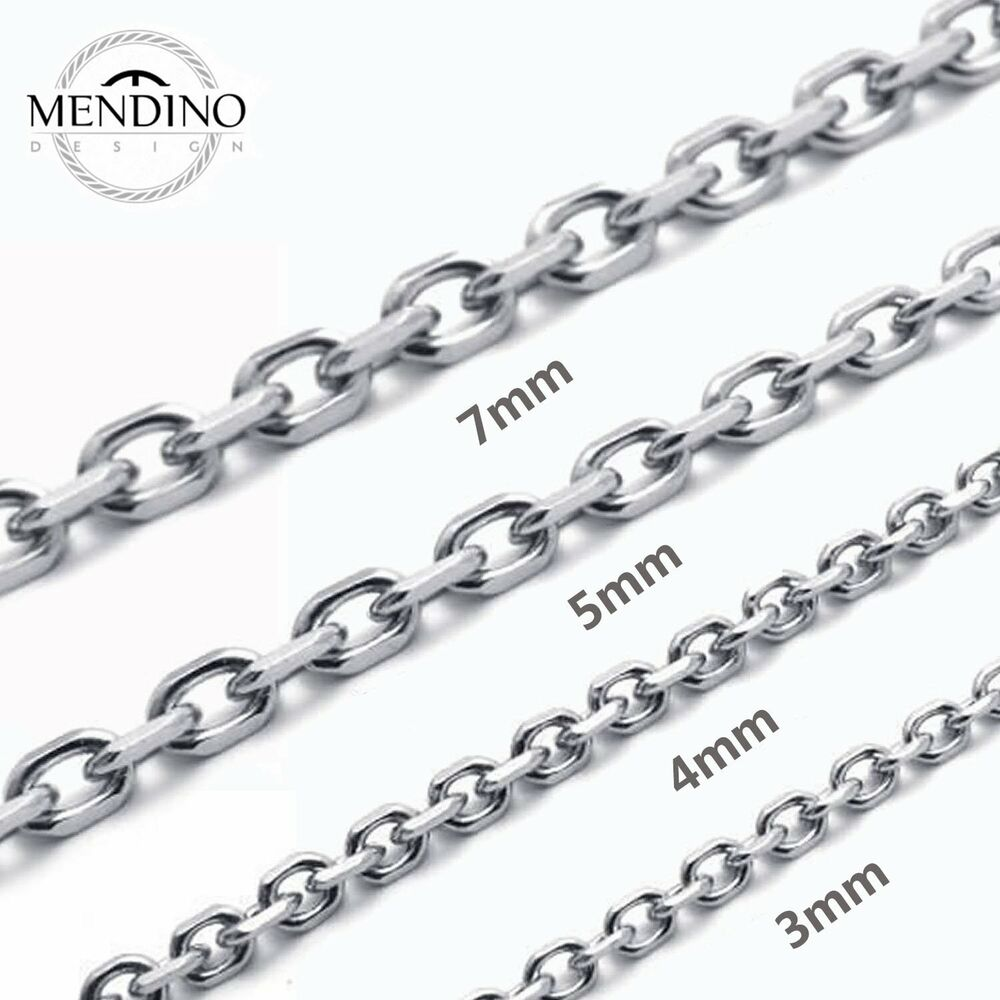 mendino men 39 s 316l stainless steel necklace o chain 3mm. Black Bedroom Furniture Sets. Home Design Ideas