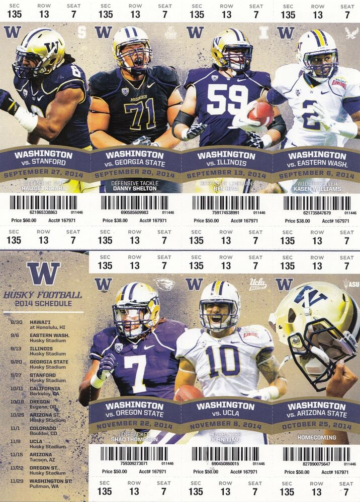 2014 Washington Huskies Full Unused Football Season Ticket