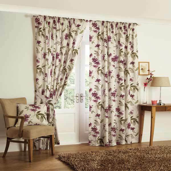 FLORAL TAPE TOP KERENA AUBERGINE HEAVY QUALITY READY MADE CURTAIN ...