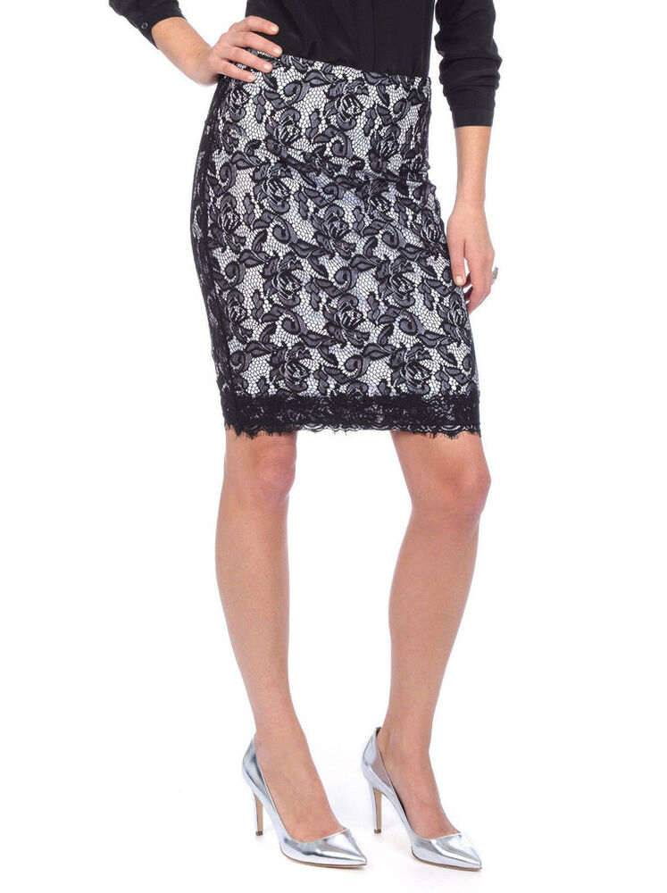 Sexy Lysse Tummy Control Lace Overlay Pencil Skirt Women S
