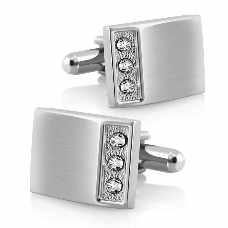 Silver stainless steel crystal mens wedding shirt cuff for Mens shirts with cufflinks