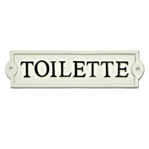 toilette bathroom door sign toilet french powder room cast iron wall plaque new ebay. Black Bedroom Furniture Sets. Home Design Ideas