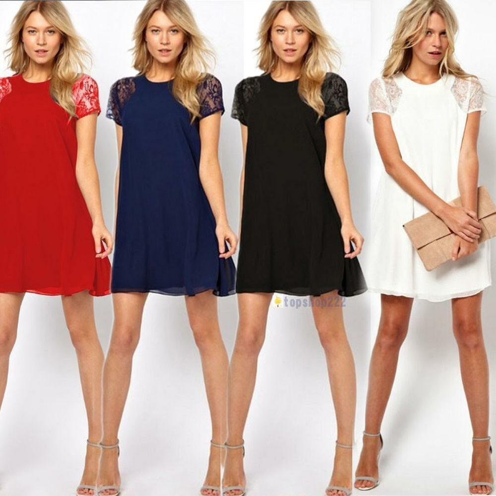 Womens Swing Chiffon Lace Short Sleeve One-Piece Shift Dress UK ...