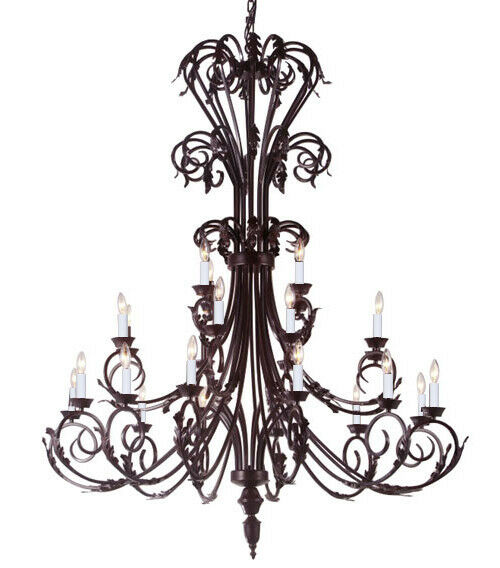 Foyer Chandelier Wrought Iron : Large foyer entryway wrought iron chandelier lighting
