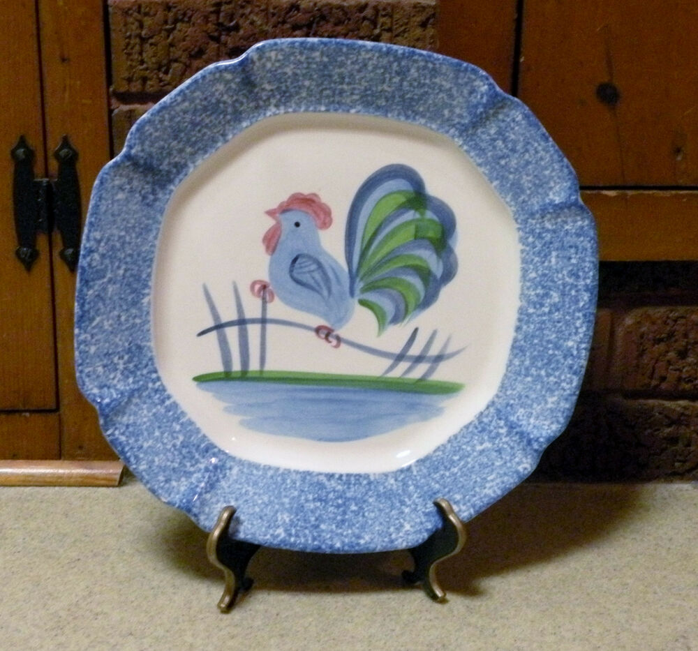 Http Www Ebay Com Itm 11 034 Blue Rooster Chicken Plate Pretty Kitchen Decor 361165450074