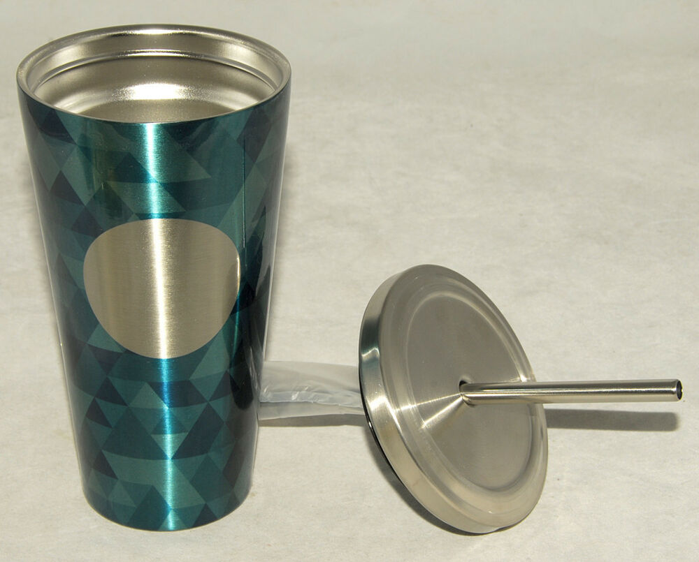 STARBUCKS - Blue MOSAIC - STAINLESS COLD CUP / Tumbler *w/ METAL STRAW 2014 NEW | eBay