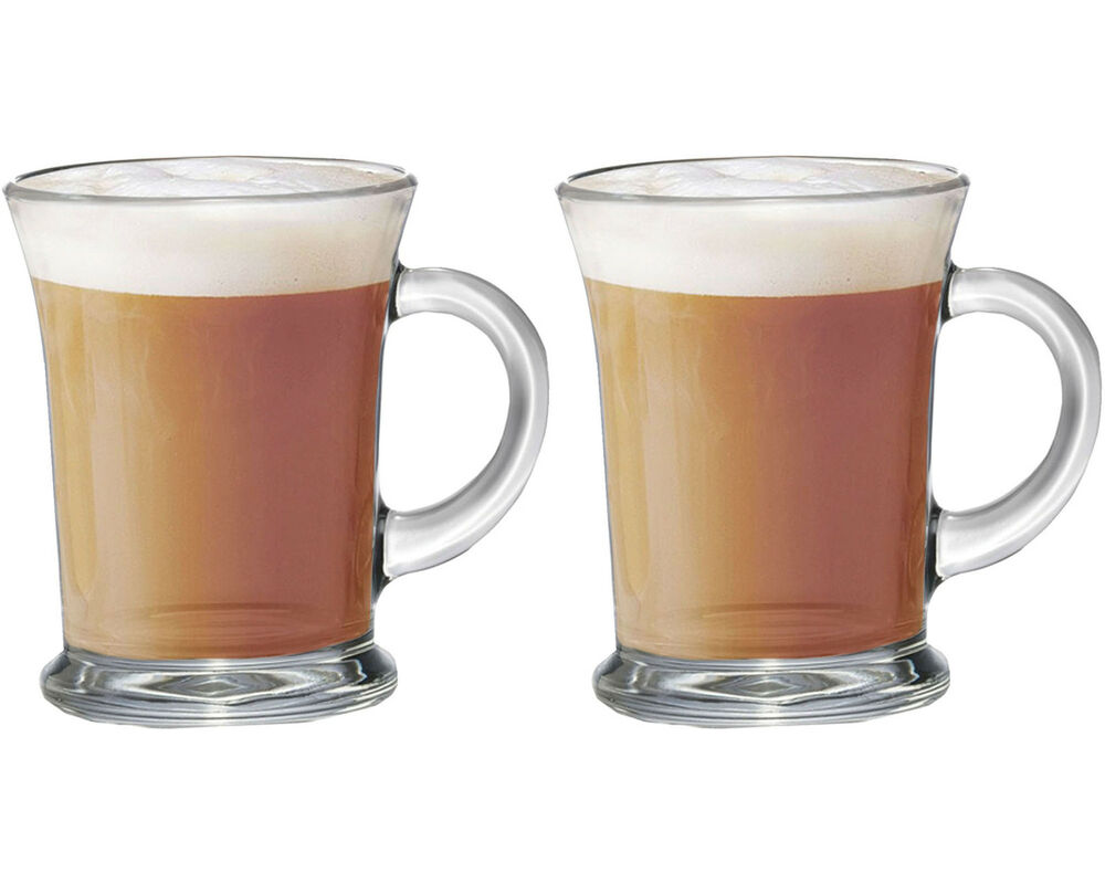 Set Of 2 Large Essentials Glass Tea Coffee Latte