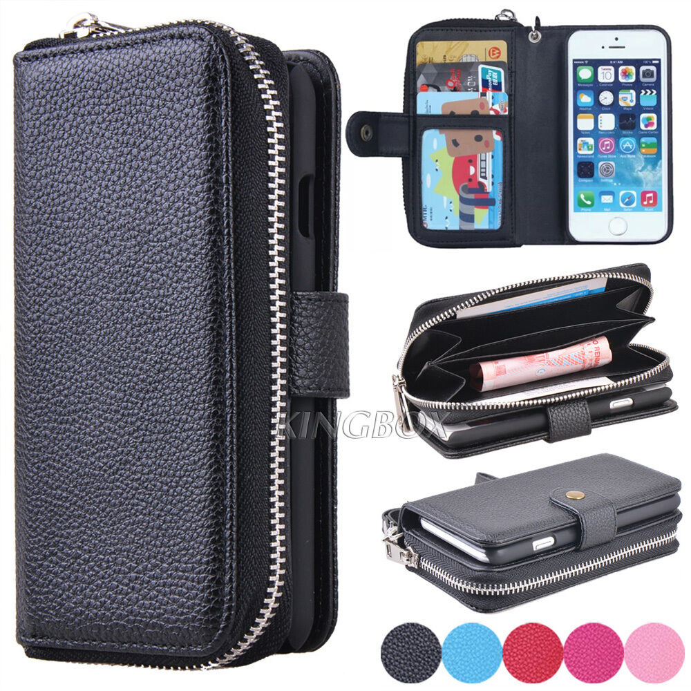 wallet case for iphone 5 premium leather wristlet clutch wallet card slot 18165