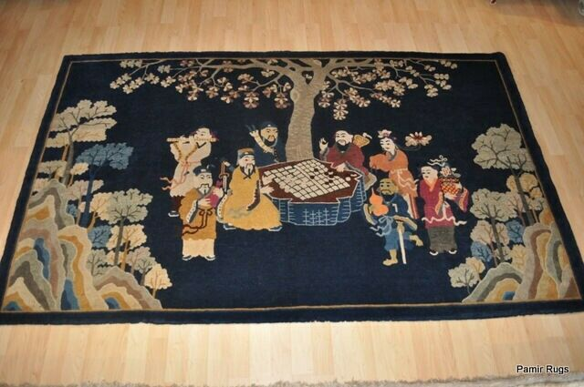 Chinese Pictorial 5x8 Antique 8 Gods Antique Rug Eight