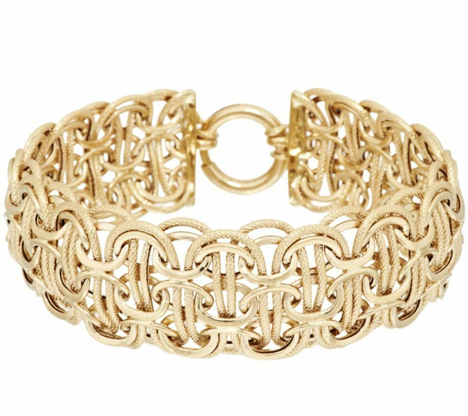 Qvc bold textured polished mosaic bracelet real 14k yellow for What is gold polished jewelry