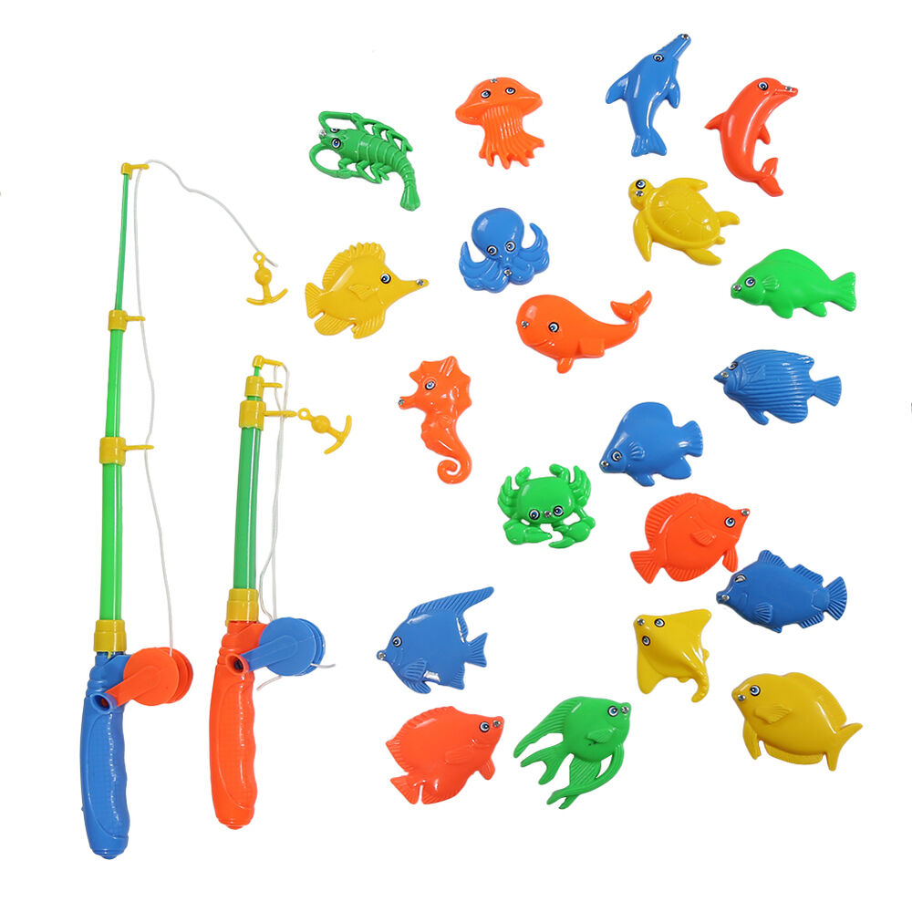 Magnetic fishing game toy rod 20 fish hook catch kids for Game and fish