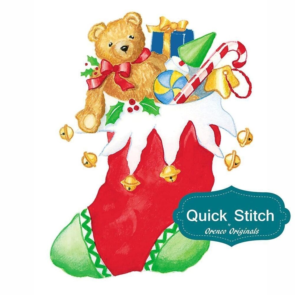 Quick Stitch Country Christmas Stocking Teddy Bear Counted