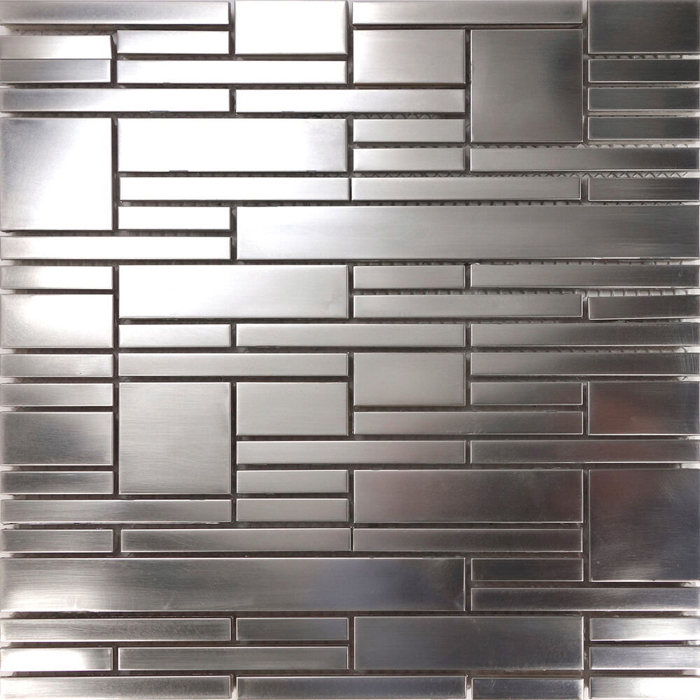 Sample Matte Industrial Stainless Steel Pattern Mosaic Tile Kitchen Backsplash Ebay