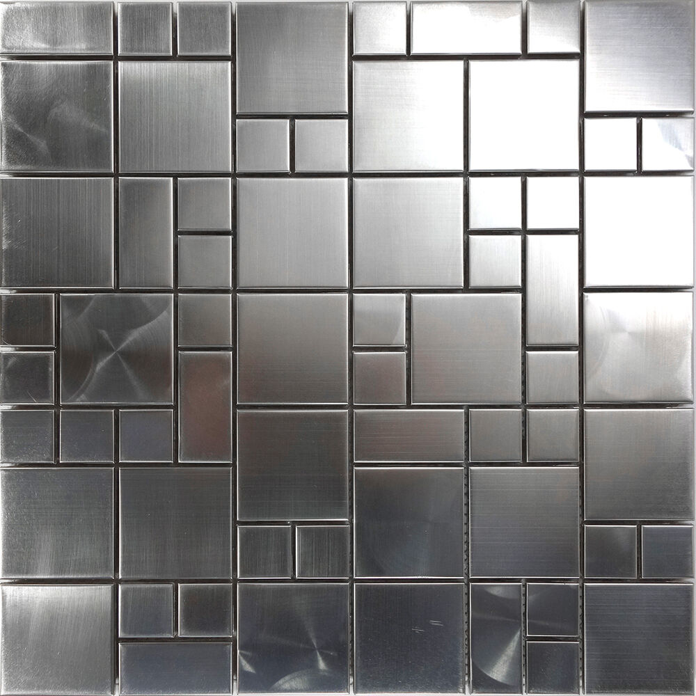1sf Matte Industrial Stainless Steel Pattern Mosaic Tile