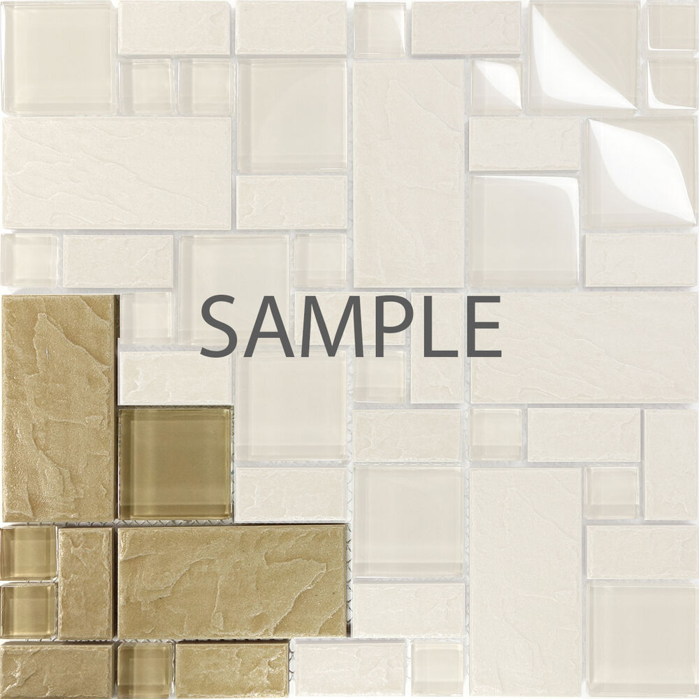 Kitchen Wall Tile Backsplash: Sample Beige Stone Glass Blend Pattern Mosaic Tile Kitchen