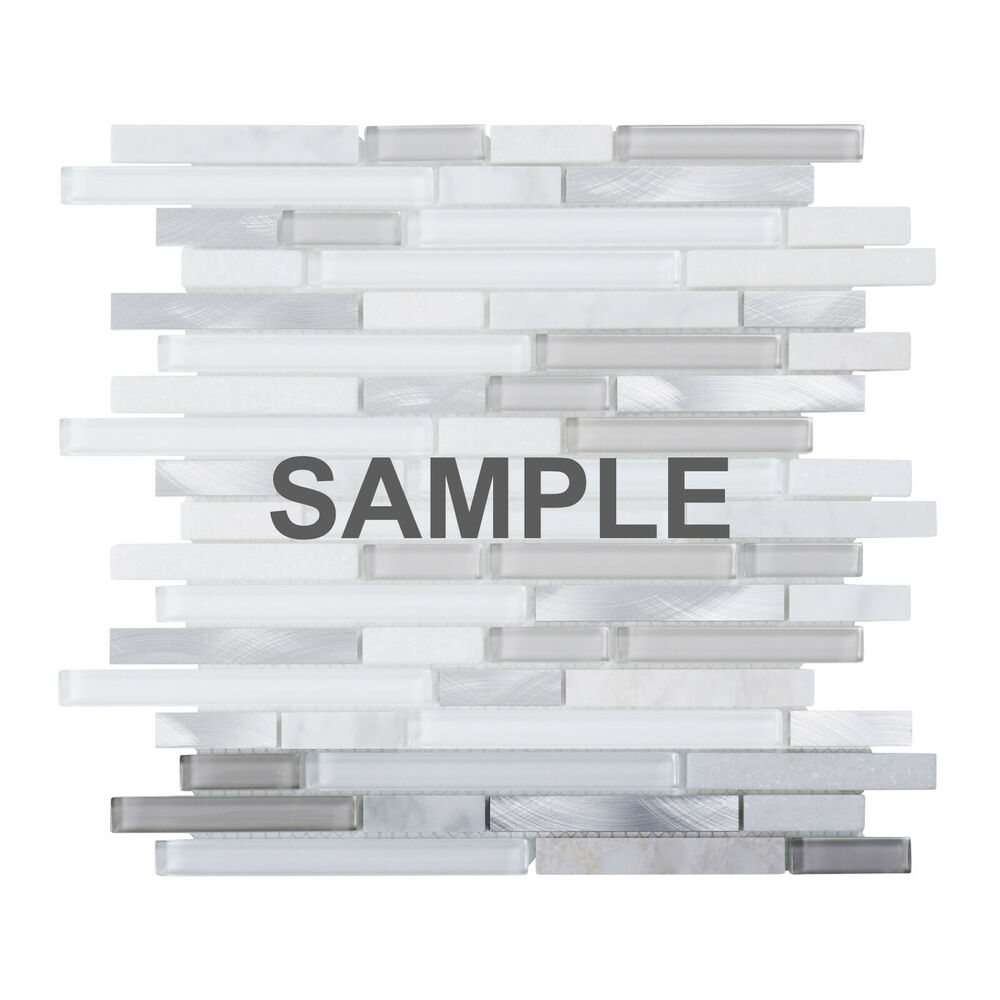 Sample White Glass Stone Metal Linear Glass Mosaic Tile Kitchen Backsplash Wall