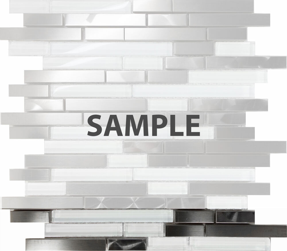 Sample Stainless Steel Brushed Nickel Swirl Glass Mosaic