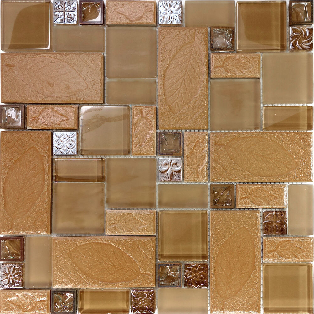 Sample Black Metallic Deco Insert Crackle Glass Mosaic: Sample Brown Leaf Decor Insert Copper Glass Blend Mosaic