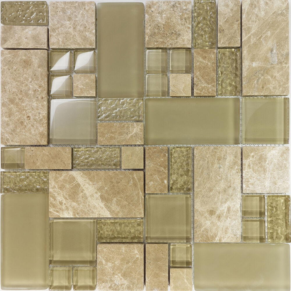 Sample Marble Green Brown Glass Linear Mosaic Tile: Sample Beige Pattern Glass Stone Marble Blend Mosaic Tile