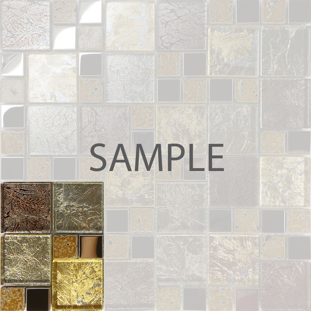 Glass and metal tile backsplash