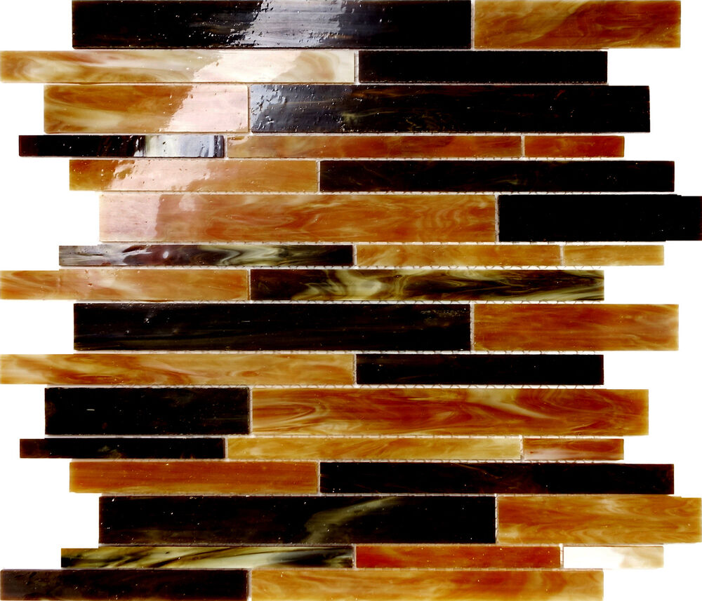 Sample Marble Green Brown Glass Linear Mosaic Tile: Sample Amber Brown Stained Glass Linear Interlock Mosaic
