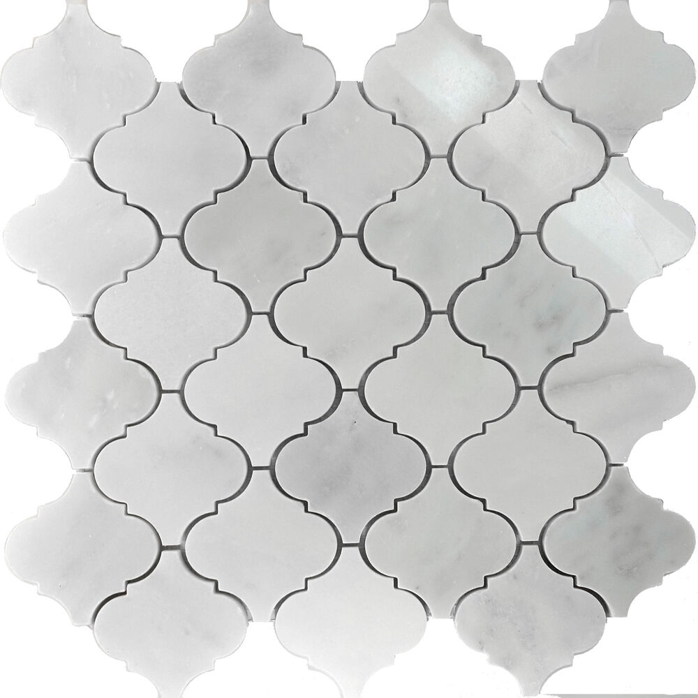 Sample Black Metallic Deco Insert Crackle Glass Mosaic: 11SF White Marble Natural Stone Moroccan Pattern Mosaic