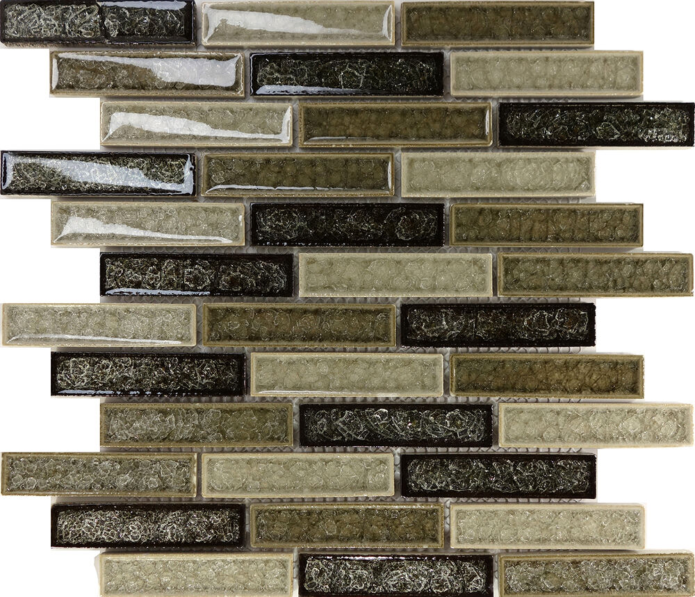 Sample Cream Crackle Glass Mosaic Tile Kitchen Backsplash: Sample Green Brown Crackle Glass Subway Mosaic Tile