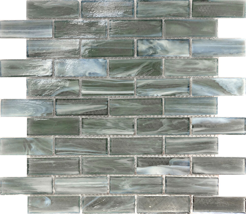 sample gray stained glass mosaic tile kitchen backsplash wall faucet