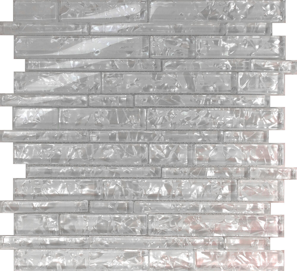 Sample White Glass Stone Metal Linear Glass Mosaic Tile: 10SF White Pearl Scent Linear Glass Mosaic Tile Kitchen