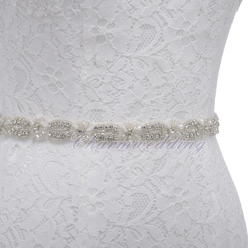 satin wedding dress bridal gown belt beaded jewelry sash w