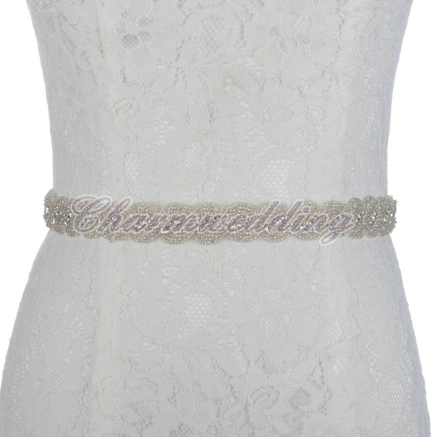 Elegant rhinestone sash belt beaded bridal gown wedding for Belts for wedding dress