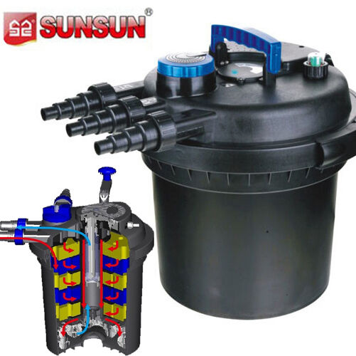 Pressurized bio pond filter w 18w uv sterilizer 5000 gal for Pond pump with uv filter