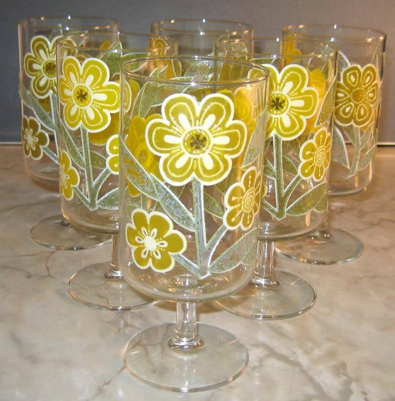 6 Vintage Culver Ltd Flower Power Glasses Glass Large