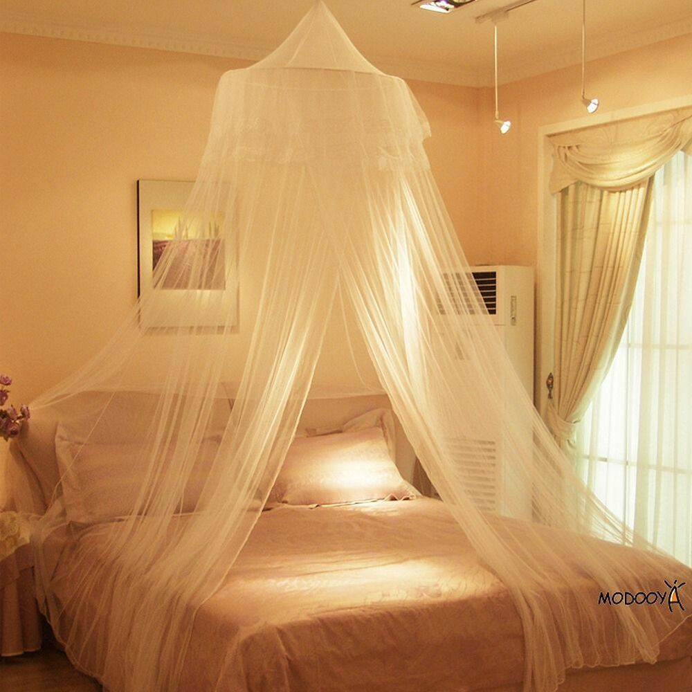 White round lace insect bed canopy netting curtain dome for Bed with mosquito net decoration