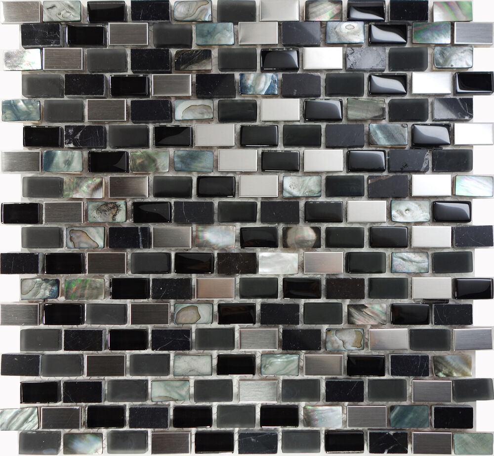 Sample Stainless Steel Metal Pattern Mosaic Tile Kitchen: Sample Back Glass Mother Of Pearl Stainless Steel Mosaic