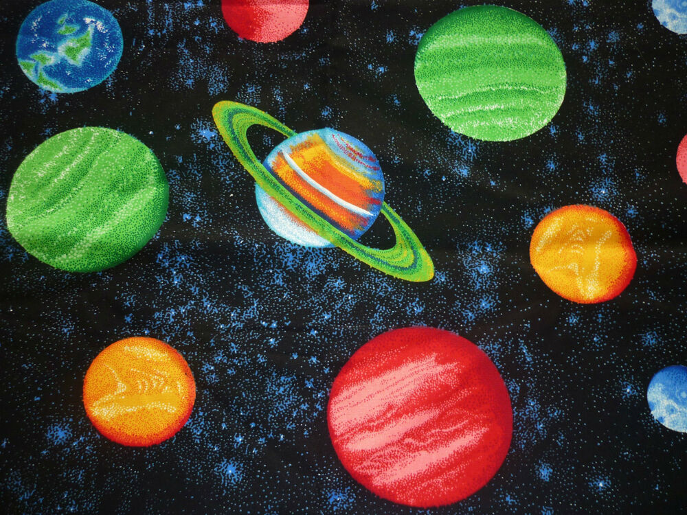 Fq space planets solar system stars universe fabric ebay for Solar system fabric panel